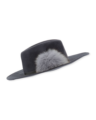 Rabbit Felt Fedora Hat w/ Fur Pompom