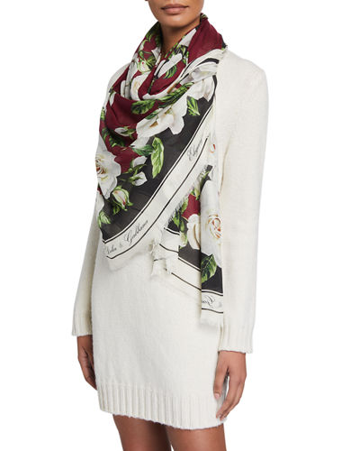 Flower Bloom Modal-Cashmere Scarf