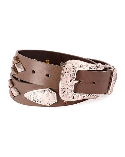 Dern Leather Belt w/ Metal Accents