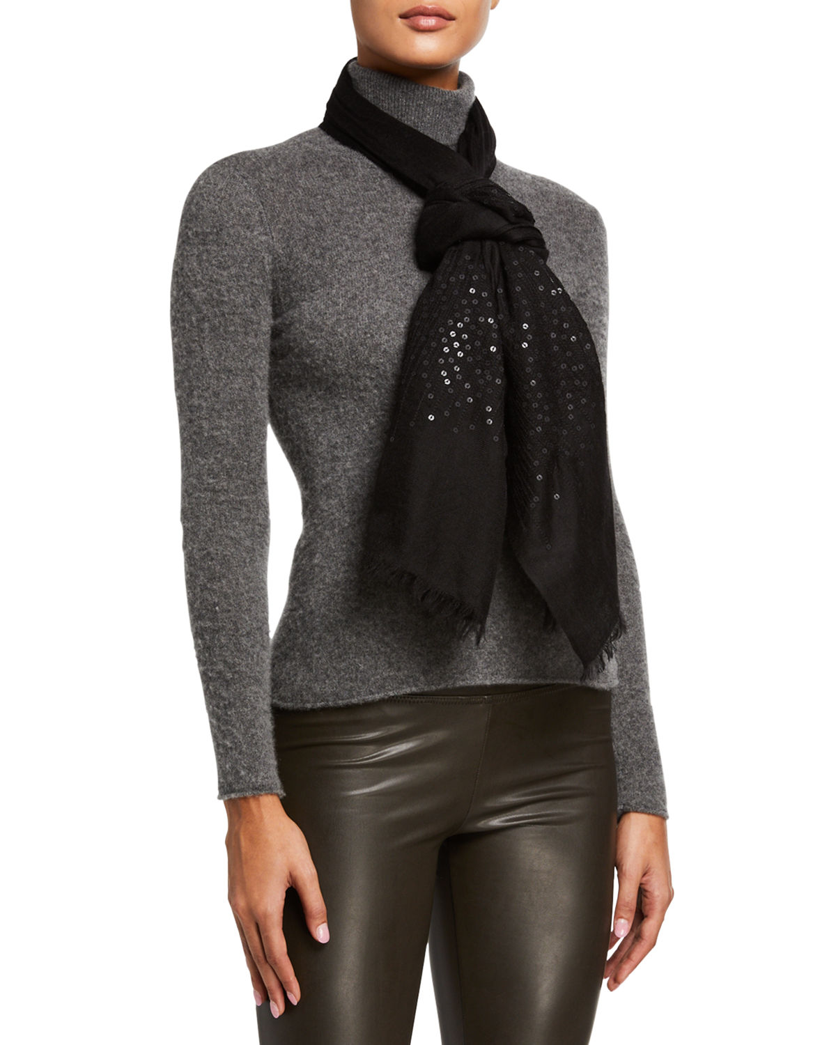 Sofia Cashmere Accessories LIGHTWEIGHT SEQUINS CASHMERE WRAP