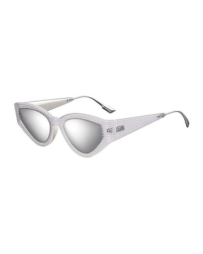 CatStyleDior1 Crystal Cat-Eye Sunglasses