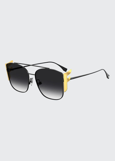 Square Aviator Sunglasses w/ Golden F Temples