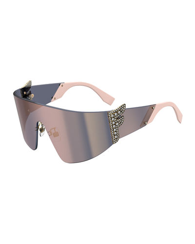 Rimless Wrap Shield Sunglasses