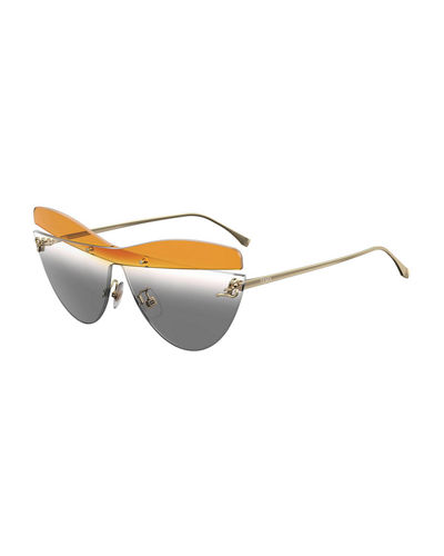 Rimless Mirrored Cat-Eye Sunglasses