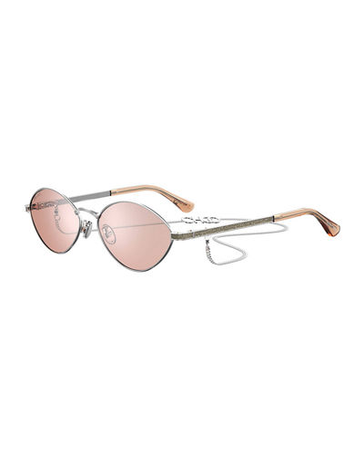 Sonnys Oval Stainless Steel Sunglasses w/ Chain