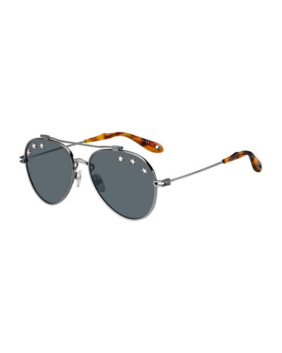 Metal Aviator Sunglasses w/ Star Studs