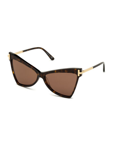 Tallulah Acetate Butterfly Sunglasses w/ Oversized T Temples