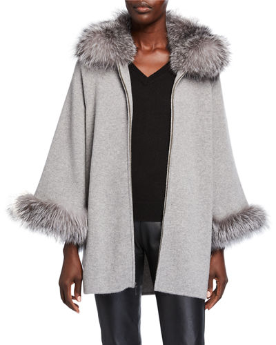 Fur Trim Cashmere Cape