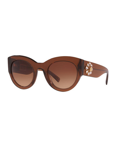 Chunky Cat-Eye Sunglasses w/ Crystal Embellished Temples