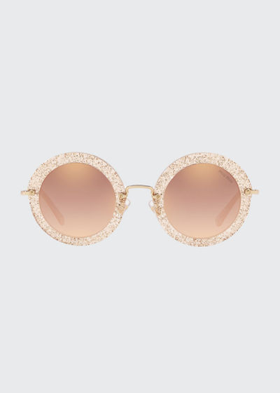 Mirrored Round Glitter Acetate Sunglasses