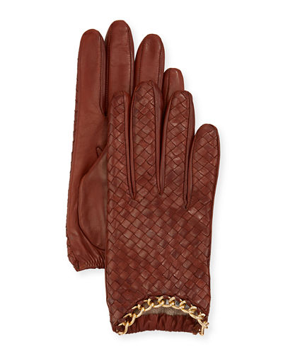 Woven Napa Leather Driving Gloves