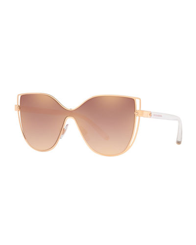 Metal Butterfly Shield Sunglasses w/ Logo Print Lens