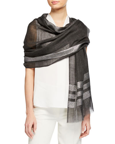 Lurex Colorblock Wool-Blend Stole