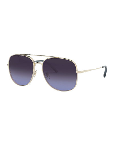 Taron Square Aviator Metal Sunglasses