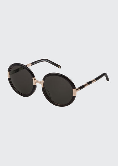 Lightweight Round Acetate and Titanium Sunglasses