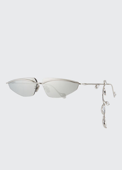 Skinny Mirrored Aviator Sunglasses w/ Crystal Earring Effect
