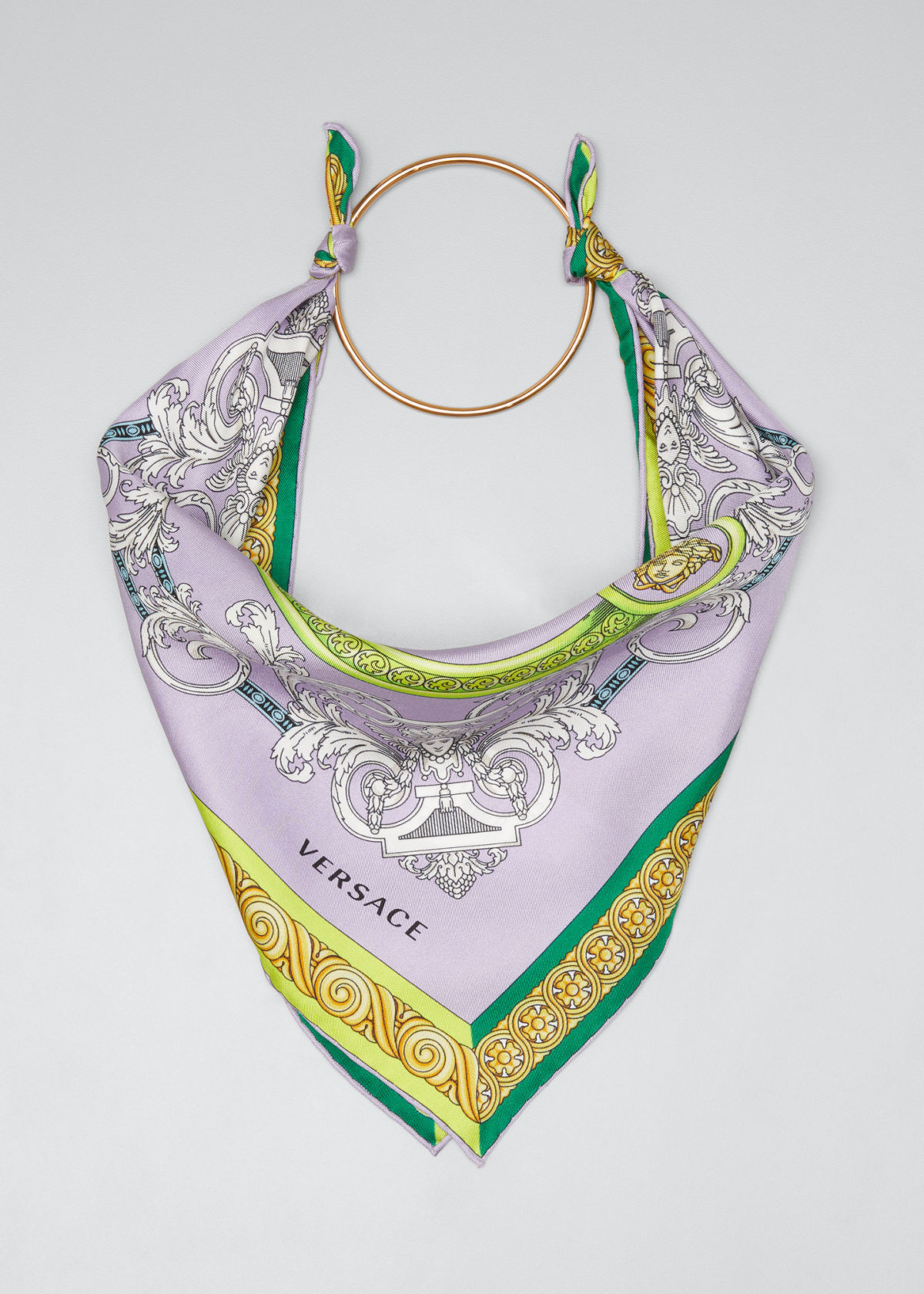 Versace PRINTED SILK SCARF WITH RING