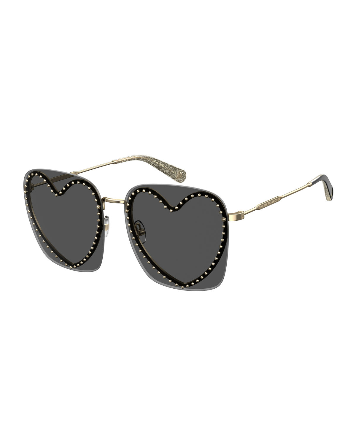 Marc Jacobs OVERSIZED RIMLESS SUNGLASSES WITH HEART-SHAPED FRAME