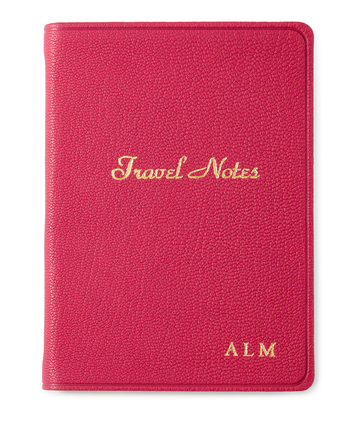 Handcrafted travel notebook. Leather cover. Summary pages for detailing your adventures; full-color maps. Editorial information includes toll-free numbers, world weather, distances, and international dialing codes. Cream-white, acid-free paper with gilt edges; double-faced cream satin ribbon marker. Personalization is one to three initials in style and color shown. 4.375\