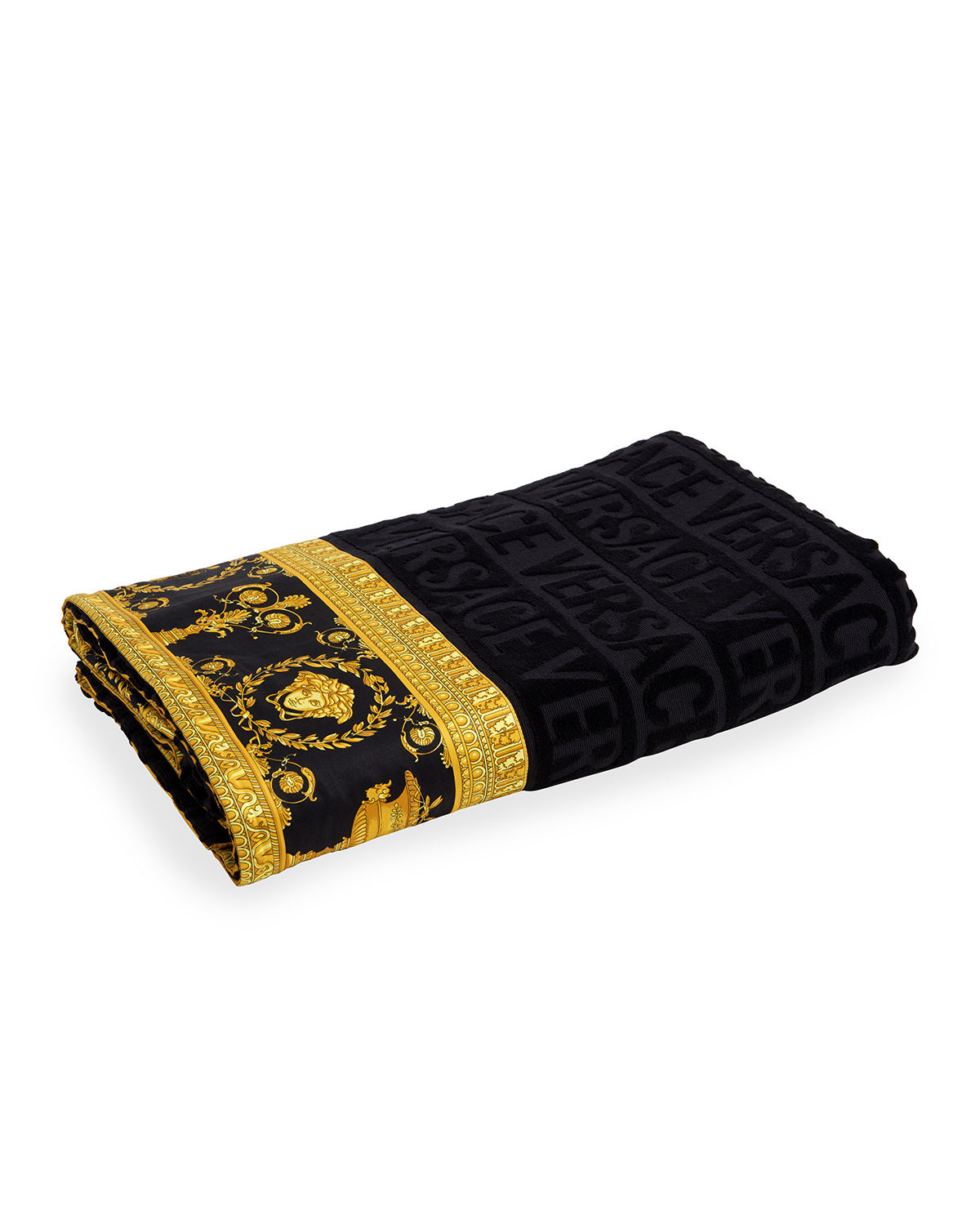Versace Towels LOGO JACQUARD BEACH TOWEL WITH BAROQUE-PRINT BORDER