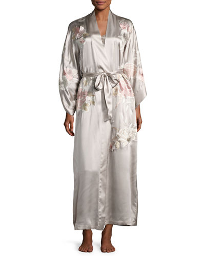 Lola Embroidered Silk Long Robe