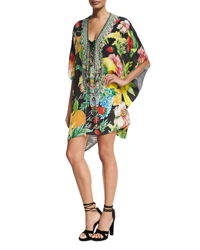 Short Lace-Up Embellished Silk Kaftan Swim Coverup, One Size