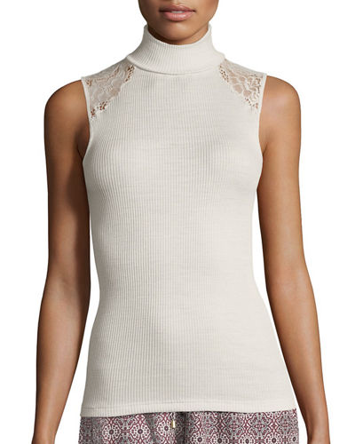 Lillian Lace-Inset Sleeveless Layering Top