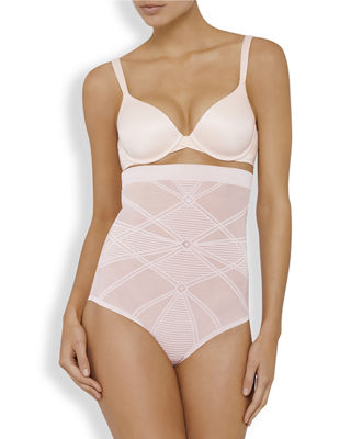 NANCY GANZ Sheer Decadence Shaping High-Waist Briefs in Shadow Taupe