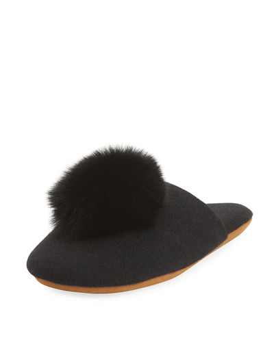 Minnie Rose Cashmere Fur-Pompom Slipper