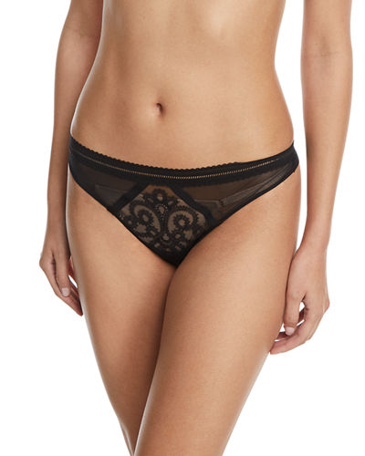 Lima Embroidered Tulle Thong