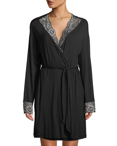 Pret-a-Porter Lace-Trim Short Robe