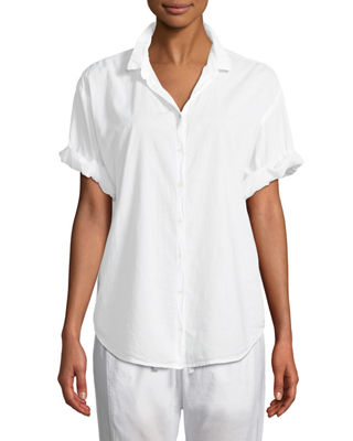 XIRENA Channing Short-Sleeve Lounge Shirt in White