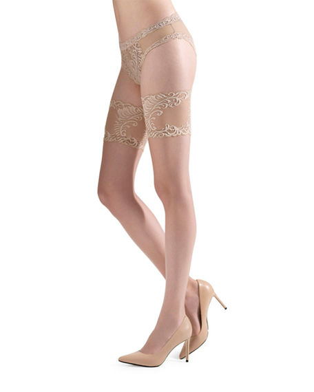 Natori Tops SILKY SHEER LACE TOP THIGH HIGHS