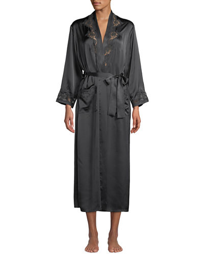 Katiuscia Lace-Trim Long Silk Robe