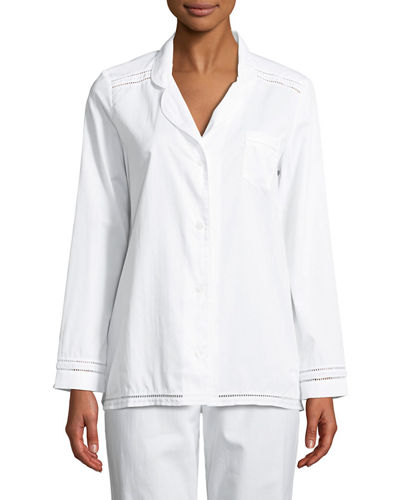 Pyjama Ladder-Stitched Long-Sleeve Shirt