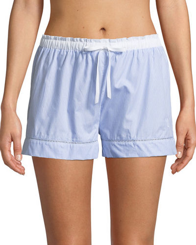 Ladder Stitch-Trim Pyjama Shorts