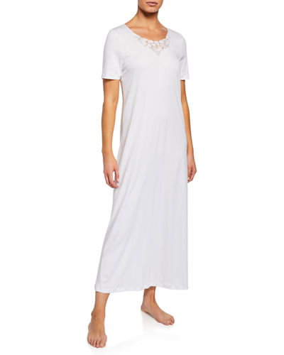 Aurelia Short-Sleeve Long Nightgown with 3D Floral Lace Detail 9991ea39b