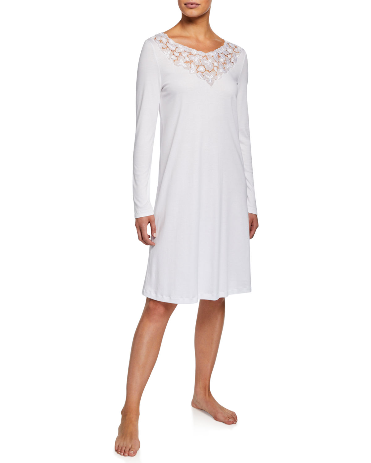 Hanro Tops AURELIA LONG-SLEEVE NIGHTGOWN WITH 3D FLORAL LACE DETAIL