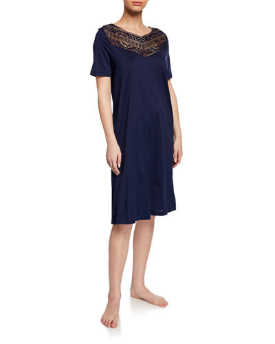 Malene Lace-Yoke Nightgown