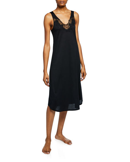 Natori Tops Fleur Floral-Embroidered Tank Nightgown, BLACK