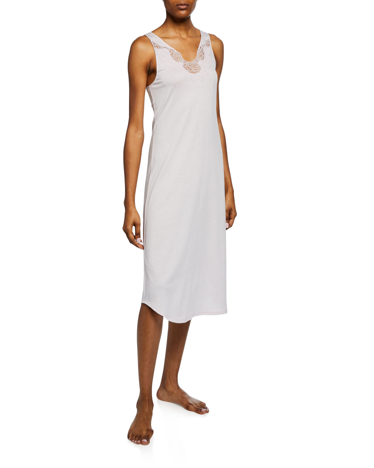 Natori Tops Fleur Floral-Embroidered Tank Nightgown, LIGHT PINK