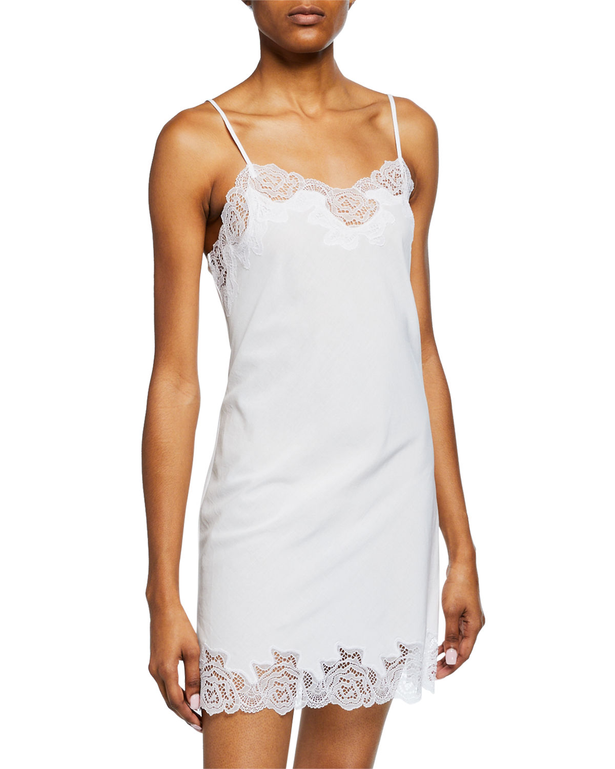 Natori Tops LACE-TRIM COTTON CHEMISE
