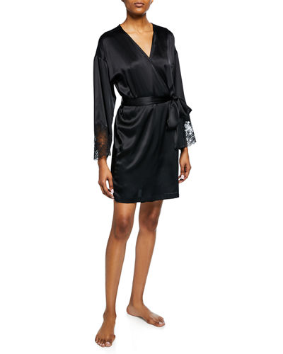 Sleek Lace-Trim Silk Robe