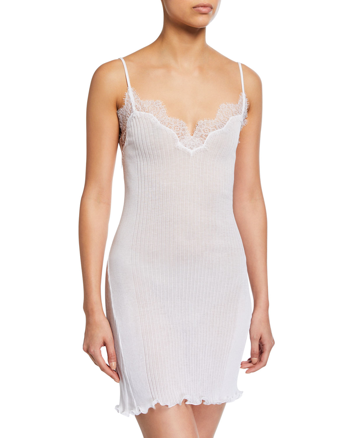 Zimmerli RIBBED COTTON CHEMISE WITH LACE TRIM