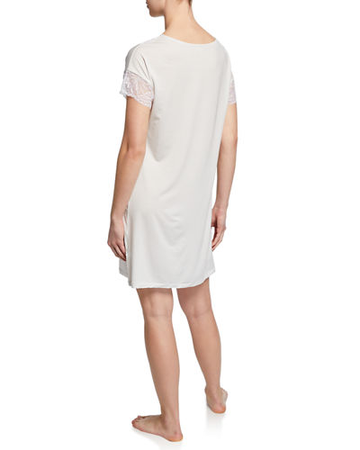 Short-Sleeve Jersey Sleepshirt with Lace Trim