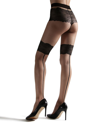 Luxe Lace-Trim Back-Seam Tights