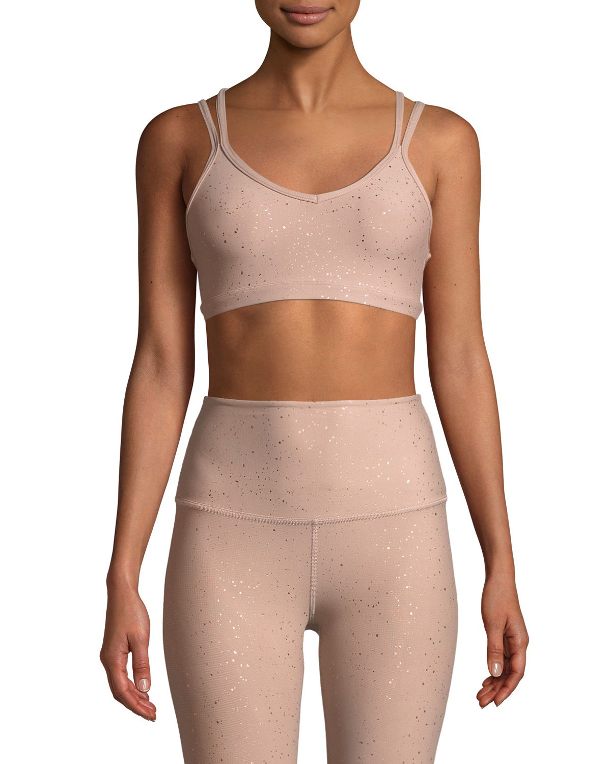 Beyond Yoga Tops DOUBLE BACK ALLOY-SPECKLED SPORTS BRA
