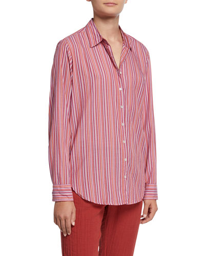 Beau Striped Cotton Lounge Shirt
