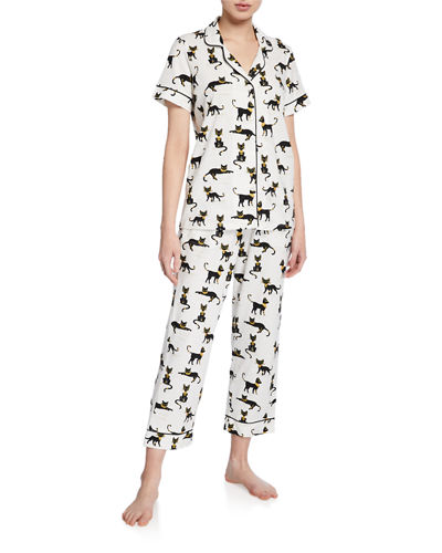 Fan-Print Cropped Pajama Set