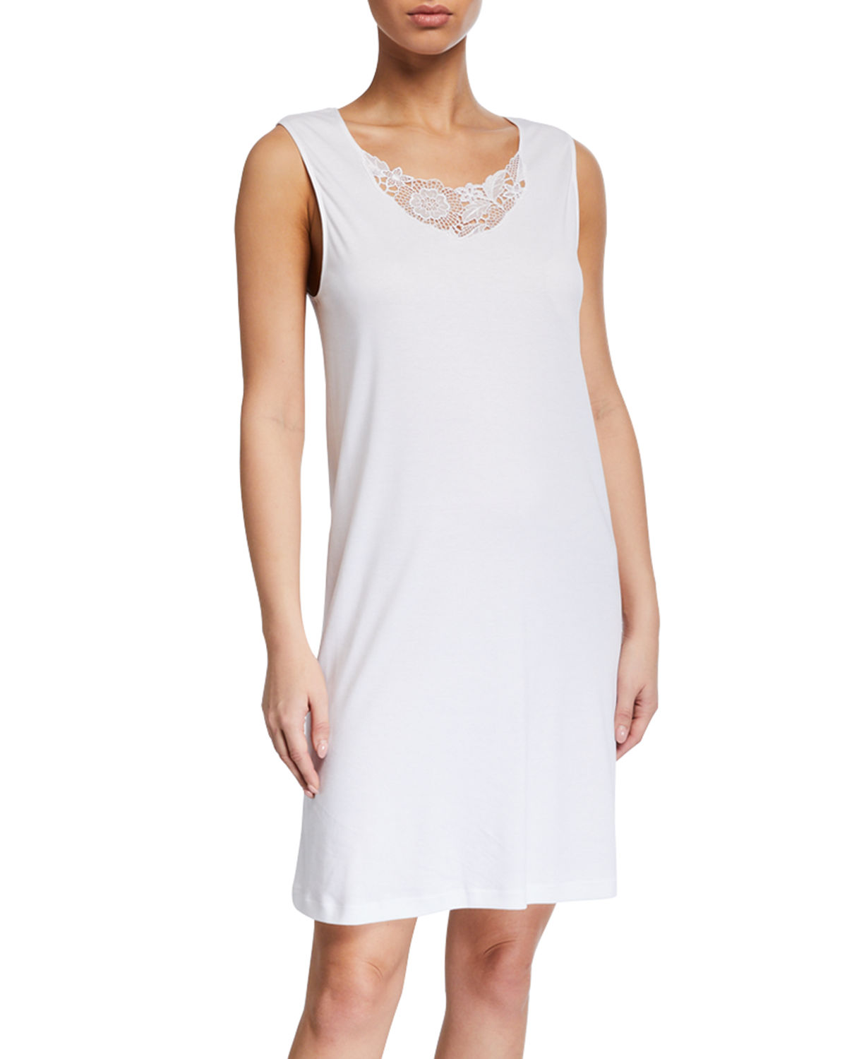 Hanro Tops FLORA LACE-INSET TANK NIGHTGOWN
